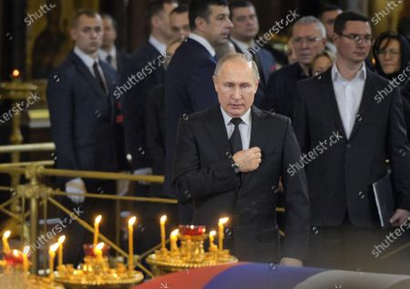 Final farewell to Ex-Mayor of Moscow Yury Luzhkov in the Cathedral of Christ the Savior. Russian President Vladimir Putin