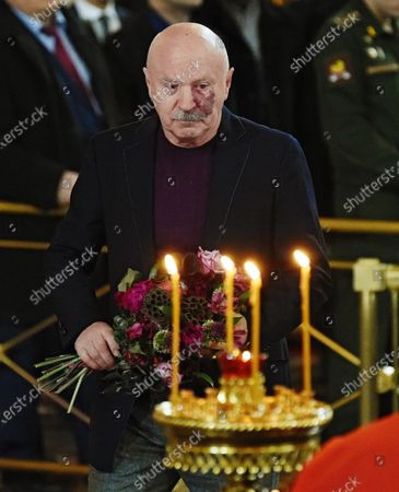 Final farewell to Ex-Mayor of Moscow Yury Luzhkov in the Cathedral of Christ the Savior. Russian Businessman Vladimir Aleshin