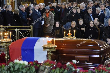 Final farewell to Ex-Mayor of Moscow Yury Luzhkov in the Cathedral of Christ the Savior. Yury Luzhkov's widow Elena Baturina (center) and his daughters Elena Luzhkova (center left) and Olga Luzhkova (right)