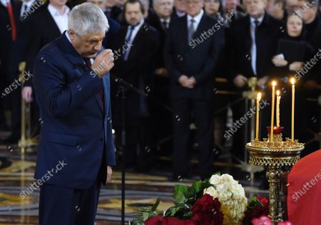 Final farewell to Ex-Mayor of Moscow Yury Luzhkov in the Cathedral of Christ the Savior. Russian Minister of the Interior Vladimir Kolokoltsev