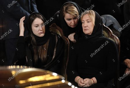 Final farewell to Ex-Mayor of Moscow Yury Luzhkov in the Cathedral of Christ the Savior. Yury Luzhkov's widow Elena Baturina (right) and his daughter Elena Luzhkova (left)