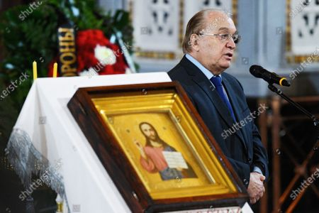 Final farewell to Ex-Mayor of Moscow Yury Luzhkov in the Cathedral of Christ the Savior. Rector of Moscow State University, Academician Viktor Sadovnichy