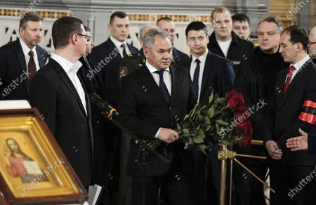 Final farewell to Ex-Mayor of Moscow Yury Luzhkov in the Cathedral of Christ the Savior. Russian Minister of Defence of Russia Sergey Shoygu (center)