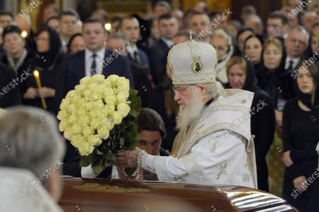 Final farewell to Ex-Mayor of Moscow Yury Luzhkov in the Cathedral of Christ the Savior. Patriarch of Moscow and All Russia Kirill