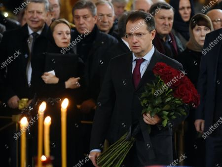 Final farewell to Ex-Mayor of Moscow Yury Luzhkov in the Cathedral of Christ the Savior. Russian Minister of Culture Vladimir Medinsky
