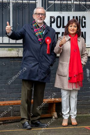 Jeremy Corbyn Leader of the Labour Party with his wife Laura Alvarez arrives at the polling Station in Islington to cast his vote in today's General Election as the Country decides on a new political party and Prime Minister.