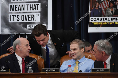 Rep. Louie Gohmert, R-Texas, Rep. Matt Gaetz, R-Fla., Rep. Jim Jordan, R-Ohio, and Rep. Ken Buck, R-Co., are seen during a House Judiciary Committee markup of Articles of Impeachment against President Donald Trump, on Capitol Hill in Washington
