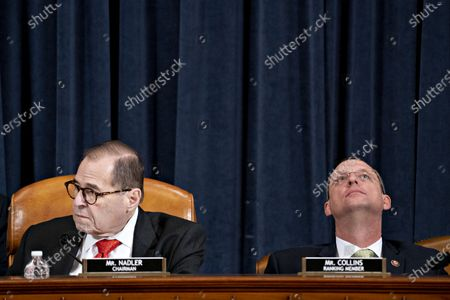 Stock Image of Representative Jerrold Nadler, a Democrat from New York and chairman of the House Judiciary Committee, left, and ranking member Representative Doug Collins, a Republican from Georgia, listen during a hearing in Washington, D.C., U.S., on Thursday, Dec. 12, 2019. The Judiciary Committee is set to finish debating articles of impeachment against President Donald Trump today with a likely party-line vote to send the resolution to the floor of the House. Photographer: Andrew Harrer/Bloomberg