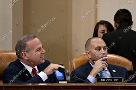 Representative David Cicilline, a Democrat from Rhode Island, speaks as Representative Hakeem Jeffries, a Democrat from New York and chair of the Democratic Caucus, right, listens during a House Judiciary Committee hearing in Washington, D.C., U.S., 12 December 2019. The Judiciary Committee is set to finish debating articles of impeachment against President Donald Trump today with a likely party-line vote to send the resolution to the floor of the House.