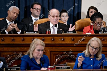 Representative Steve Cohen, a Democrat from Tennessee, top center, speaks as Representative Hank Johnson, a Democrat from Georgia, top left, Representative Sheila Jackson Lee, a Democrat from Texas, top right, Representative Mary Gay Scanlon, a Democrat from Pennsylvania, bottom right, and Representative Sylvia Garcia, a Democrat from Texas, listen during a House Judiciary Committee hearing in Washington, D.C., U.S., 12 December 2019. The Judiciary Committee is set to finish debating articles of impeachment against President Donald Trump today with a likely party-line vote to send the resolution to the floor of the House.
