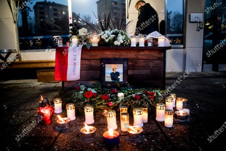 Stock Picture of Pictures, flowers and candles are placed at a makeshift memorial for Swedish pop singer and songwriter Marie Fredriksson outside Baggpipe Studios (formerly known as EMI) in Skarmabrink, southern Stockholm, Sweden, 12 December 2019. Fredriksson, part of world famous pop duo Roxette died on 09 December at the age of 61.