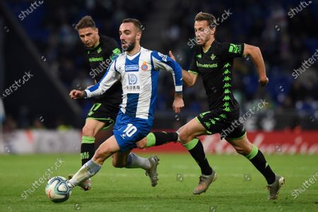 Sergi Darder of RCD Espanyol, Joaquín Sanchez and Sergio Canales of Real Betis