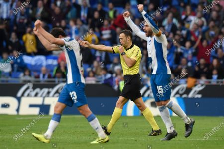 David Lopez and Esteban Granero of RCD Espanyol  celebrating the 2-1