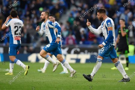 Stock Photo of David Lopez of RCD Espanyol  celebrates the 2-1