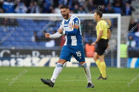 David Lopez of RCD Espanyol  celebrates the 2-1