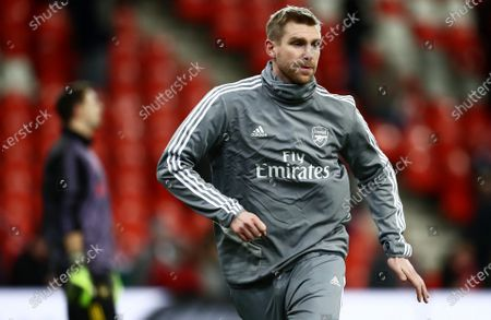 Arsenal Interim Assistant Manager Per Mertesacker during the warm up.