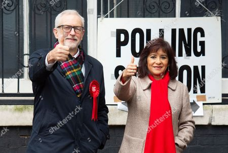 Jeremy Corbyn and wife Laura Alvarez at Pakeman School polling station, Islington, to vote this morning.