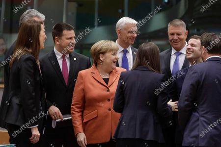 Sophie Wilmes, Angela Merkel, Sanna Marin and Emmanuel Macron