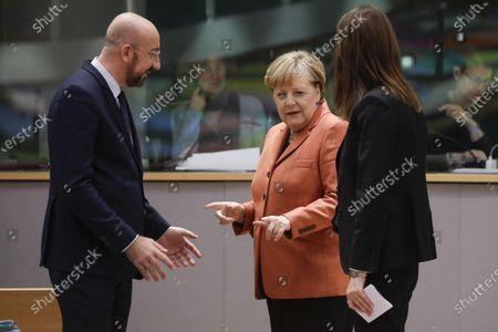 Charles Michel, Angela Merkel and Sophie Wilmes