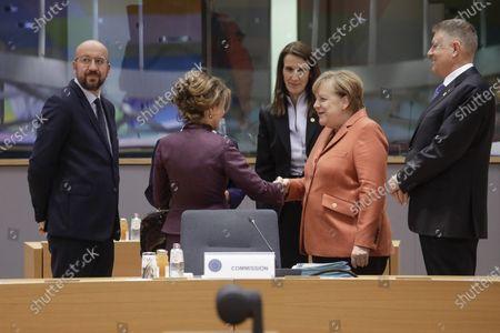 Charles Michel, Brigitte Bierlein, Sophie Wilmes and Angela Merkel