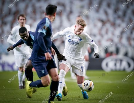 FC Copenhagen's Viktor Fischer, right, and Malmo FFs Bonke Innocent, left, during the UEFA Europa League group stage match between FC Copenhagen and Malmo FF, in Copenhagen, Denmark, 12 December 2019.