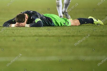 Sporting's Sebastian Coates reacts during the UEFA Europa League group D soccer match between LASK Linz and Sporting CP in Linz, Austria, 12 December 2019.