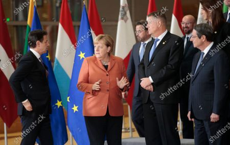(L-R) Italian Prime Minister Giuseppe Conte, German Chancellor Angela Merkel, Romanian President Klaus Iohannis, Cypriot President Nicos Anastasiades attend to a family picture during the European Council summit in Brussels, Belgium, 12 December 2019. An European Council meeting will be held in Brussels on 12 and 13 December during which the EU27 leaders among other topics will discuss the Brexit and preparations for the negotiations on future EU-UK relations after the withdrawal as well as a revision of the European Stability Mechanism (ESM) Treaty.