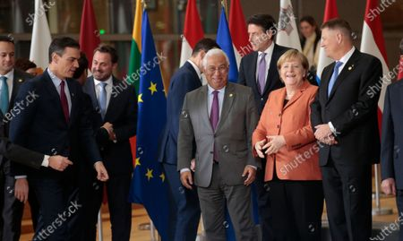 (Front row L-R) irish Taoiseach Leo Varadkar, Spanish Prime Minister Pedro Sanchez, Luxembourg's Prime Minister Xavier Bettel, Portugal's Prime Minister Antonio Costa, German Chancellor Angela Merkel and Romanian President Klaus Iohannis pose for a family picture during the European Council summit in Brussels, Belgium, 12 December 2019. An European Council meeting will be held in Brussels on 12 and 13 December during which the EU27 leaders among other topics will discuss the Brexit and preparations for the negotiations on future EU-UK relations after the withdrawal as well as a revision of the European Stability Mechanism (ESM) Treaty.