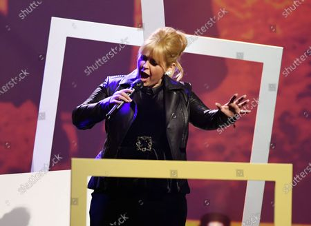 Stock Image of Musical artist Maite Kelly performs on stage during the Jose Carreras Gala Christmas concert in Leipzig, Germany, 12 December 2019. The 25th Jose Carreras Gala is one of the most successful charity events in German television and raises funds for the Spanish tenor's leukemia foundation.