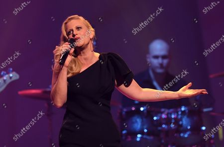 German moderator Barbara Schoeneberger performs on stage during the Jose Carreras Gala Christmas concert in Leipzig, Germany, 12 December 2019. The 25th Jose Carreras Gala is one of the most successful charity events in German television and raises funds for the Spanish tenor's leukemia foundation.