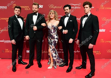 Members of British group The West End Tenors and US opera singer Deborah Sasson (C) arrive for the Jose Carreras Gala Christmas concert in Leipzig, Germany, 12 December 2019. The 25th Jose Carreras Gala is one of the most successful charity events in German television and raises funds for the Spanish tenor's leukemia foundation.