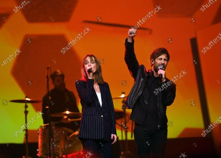 German musicians Lotte (L) and Max Giesinger (R) perform on stage during the Jose Carreras Gala Christmas concert in Leipzig, Germany, 12 December 2019. The 25th Jose Carreras Gala is one of the most successful charity events in German television and raises funds for the Spanish tenor's leukemia foundation.