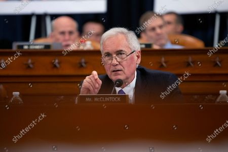 United States Representative Tom McClintock (Republican of California) speaks as the US House Committee on the Judiciary marks-up House Resolution 755, Articles of Impeachment Against President Donald J. Trump, in the Longworth House Office Building in Washington, DC.