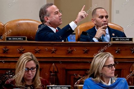 United States Representative David Cicilline (Democrat of Rhode Island), speaks as United States Representative Hakeem Jeffries (Democrat of New York) and chair of the Democratic Caucus, right, US Representative Madeleine Dean (Democrat of Pennsylvania), bottom right, and US Representative Debbie Mucarsel-Powell (Democrat of Florida), listen during a US House Judiciary Committee hearing in Washington, D.C., U.S.