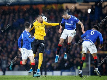 Young Boys' Guillaume Hoarau (C) and Nikola Katic of Rangers (R) in action the UEFA Europa League match Rangers v BSC Young Boys in Glasgow, Britain, 12 December 2019.