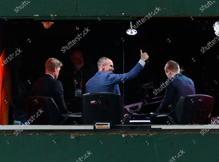 Kenny Miller, former Rangers striker, now a TV pundit gestures towards Rangers fans after the final whistle. Rangers qualified for the last 32 of the Europa League after drawing 1-1 tonight.