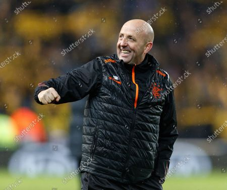 Rangers Assistant Manager Gary McAllister celebrates after the final whistle. Rangers qualified for the last 32 of the Europa League after drawing 1-1 tonight.