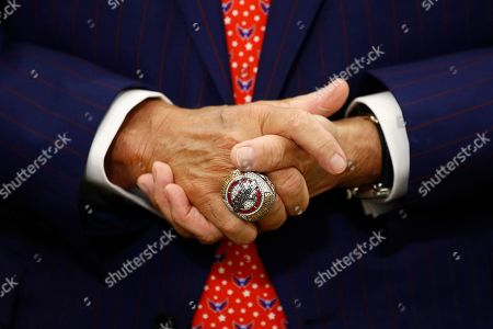 Washington Capitals team owner Ted Leonsis wears a Stanley Cup championship ring as he speaks with members of the press before accepting the Wayne Gretzky International Award on behalf of Capitals left wing Alex Ovechkin at a U.S. Hockey Hall of Fame ceremony, in Washington
