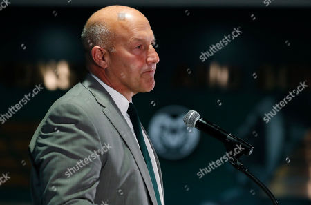 Stock Picture of R m. Steve Addazio speaks during an announcement that he has been hired as the new head football coach at Colorado State University at a news conference at the school, in Fort Collins, Colo