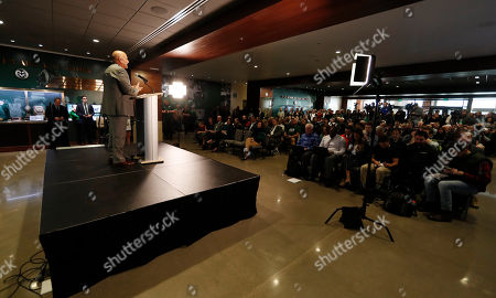 R m. Steve Addazio addresses the crowd after an announcement that he has been hired as the new head football coach at Colorado State University at a news conference at the school, in Fort Collins, Colo