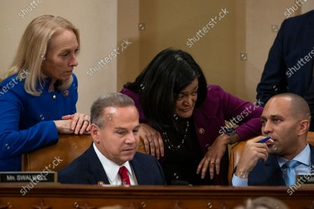 (L-R) Representative Mary Gay Scanlon, a Democrat from Pennsylvania, Representative David Cicilline, a Democrat from Rhode Island, Representative Pramila Jayapal, a Democrat from Washington, and Representative Hakeem Jeffries, a Democrat from New York, speak during a House Judiciary Committee hearing on Capitol Hill in Washington, DC, USA, 12 December 2019. The House Judiciary Committee has written two articles of impeachment accusing US President Donald J. Trump of abuse of power and obstruction of Congress. The committee is expected to vote on the two articles, 12 December, setting up a vote on the House floor next week.