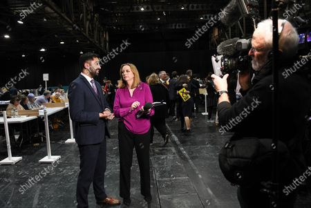 SNP MSP Humza Yousaf being interviewed at the votes count in Glasgow.