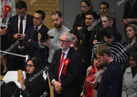 British opposition Labour Party leader Jeremy Corbyn and his wife Laura Alvarez wait for the declaration of his seat in the 2019 general election in Islington, London, . The first handful of results to be declared in Britain's election are showing a surge in support for to the Conservatives in northern England seats where Labour has long been dominant