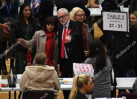 Stock Image of British opposition Labour Party leader Jeremy Corbyn and his wife Laura Alvarez gestures after arriving for the declaration of his seat in the 2019 general election in Islington, London, . The first handful of results to be declared in Britain's election are showing a surge in support for to the Conservatives in northern England seats where Labour has long been dominant