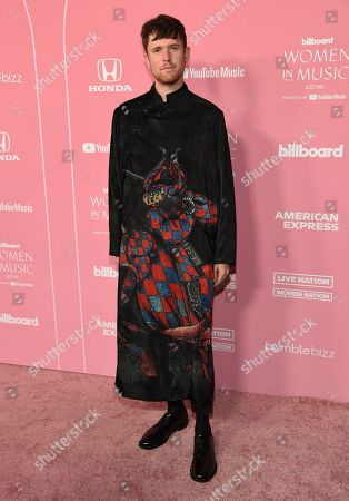 James Blake arrives at Billboard's Women in Music at the Hollywood Palladium, in Los Angeles