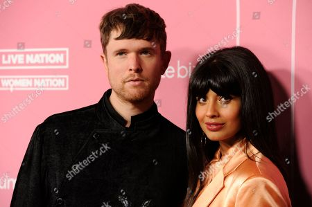 James Blake, Jameela Jamil. James Blake, left, and Jameela Jamil arrive at Billboard's Women in Music at the Hollywood Palladium, in Los Angeles