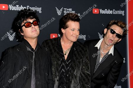 Stock Picture of Greenday band members Billie Joe Armstrong, Tre Cool  and Mike Dirnt attend the 2019 Game Awards in Los Angeles, California, USA, 12 December 2019. The Game Awards, founded in 2014, is held to highlight creative and technical achievements in the worldwide video game industry and competitive gaming community.