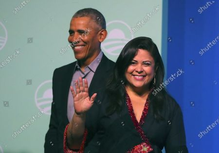 Former US president Barack Obama (L) and his sister Maya Soetoro-ng (R) arrive on stage at an Obama Foundation event in Kuala Lumpur, Malaysia, 13 December 2019. Obama and his wife Michelle are in Kuala Lumpur for the inaugural Leaders: Asia-Pacific conference, focused on promoting women's education in the region.