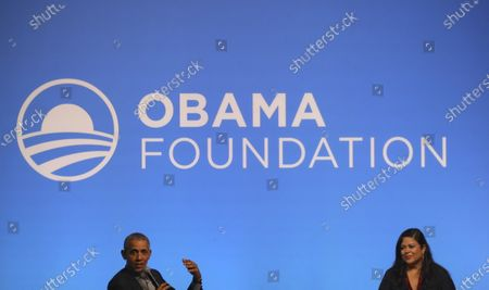 Stock Picture of Former US president Barack Obama (L) and his sister Maya Soetoro-ng (R) talk on stage at an Obama Foundation event in Kuala Lumpur, Malaysia, 13 December 2019. Obama and his wife Michelle are in Kuala Lumpur for the inaugural Leaders: Asia-Pacific conference, focused on promoting women's education in the region.