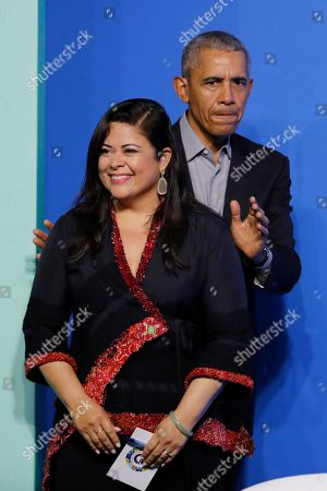 """Barack Obama, Maya Soetoro-Ng. Former U.S. President Barack Obama and his sister Maya Soetoro-Ng arrive for the """"values-based leadership"""" during a plenary session of the Gathering of Rising Leaders in the Asia Pacific, organized by the Obama Foundation in Kuala Lumpur, Malaysia"""